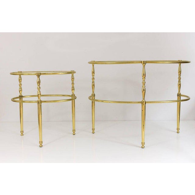 Interesting Oval Brass Nesting Tables, Circa 1940 - Image 2 of 8