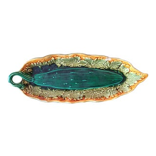 19th Century Majolica Cucumber Dish For Sale