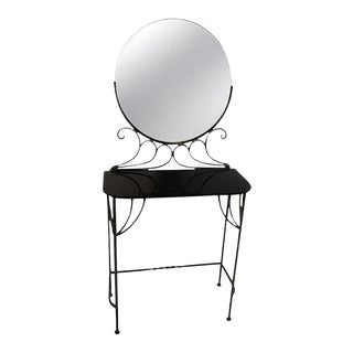Art Deco Wrought Iron Vanity and Chair by Ferro Brandt For Sale