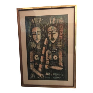 Vintage Mid-Century Modern Signed & Framed Painting For Sale