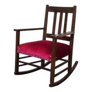 Craftsman Velvet Rocking Chair For Sale