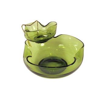 Anchor Hocking Forest Green Glass Retro Chip & Dip Set