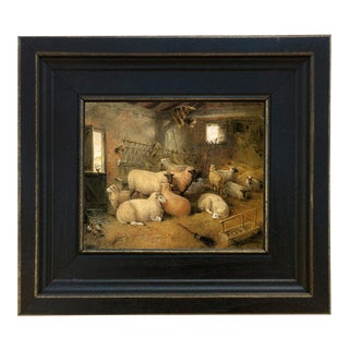 "Sheep in the Barn Framed Oil Painting Reproduction Print on Canvas - 5"" X 6"" For Sale"