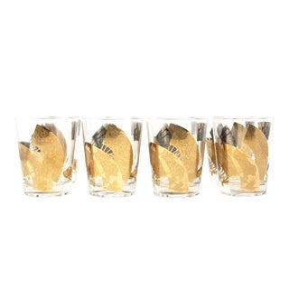 Vintage Gold Gilt Asian Fan Whiskey Glasses - Set of 8