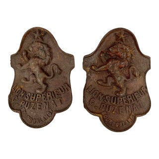Cast Iron 19th Century French Lion Shield Curved Plaques With Patina, a Pair For Sale