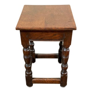 English Solid Oak Joint Stool For Sale