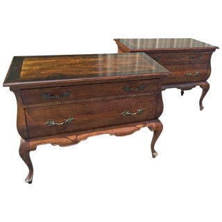 French Regency Style Shaped Walnut Commodes - a Pair For Sale