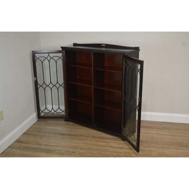 High Quality American Made Mahogany 2 Door Bookcase with Adjustable Shelves and Key Locking Doors