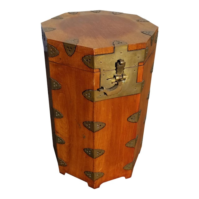 Vintage Oriental Asian Hat Box Storage Box /Stool Made in Korea 1938 For Sale