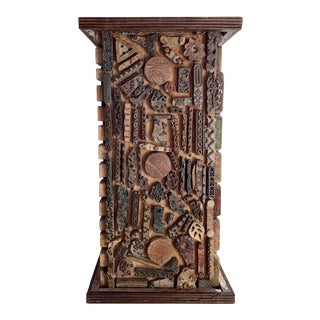 Vintage Wooden Brutalist Pedestal For Sale