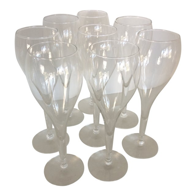 Crisa Hand Blown Crystal Tulip Style Champagne Glasses - Set of 8 For Sale