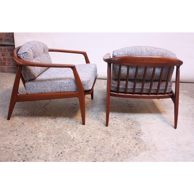 Pair of Staved Walnut Lounge Chairs by Milo Baughman - Image 9 of 11