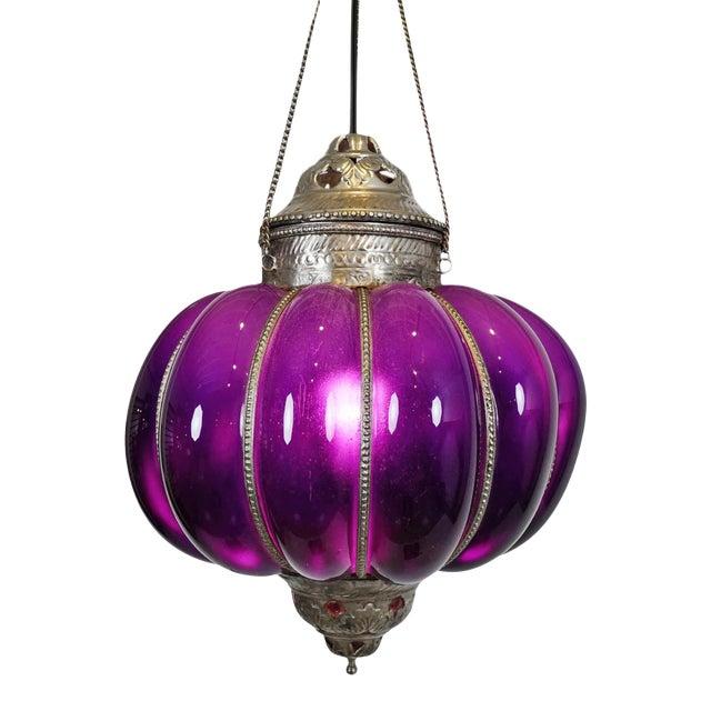 Vintage Purple Pumpkin Lantern For Sale