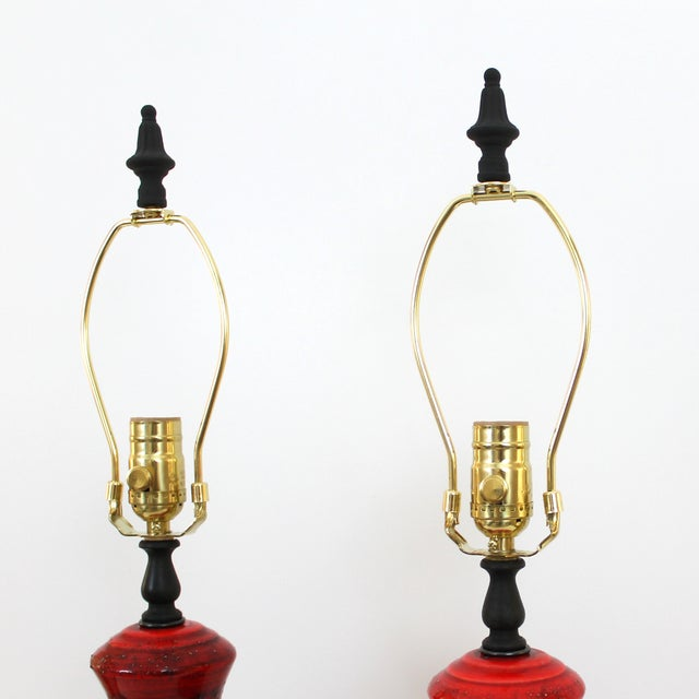Mid-Century Red Italian Pottery Lamps - a Pair - Image 7 of 7