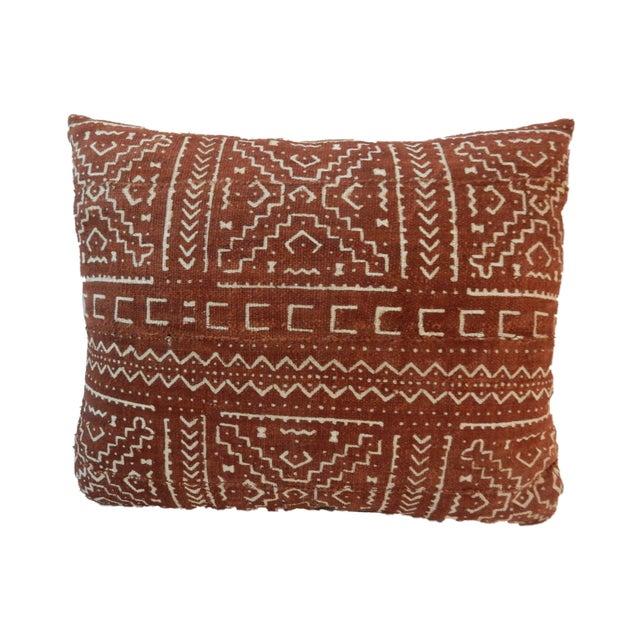 Superb Chocolate and white custom made cotton mud cloth Bogolan custom lumbar pillow. Zipper on the velvet beige back and...