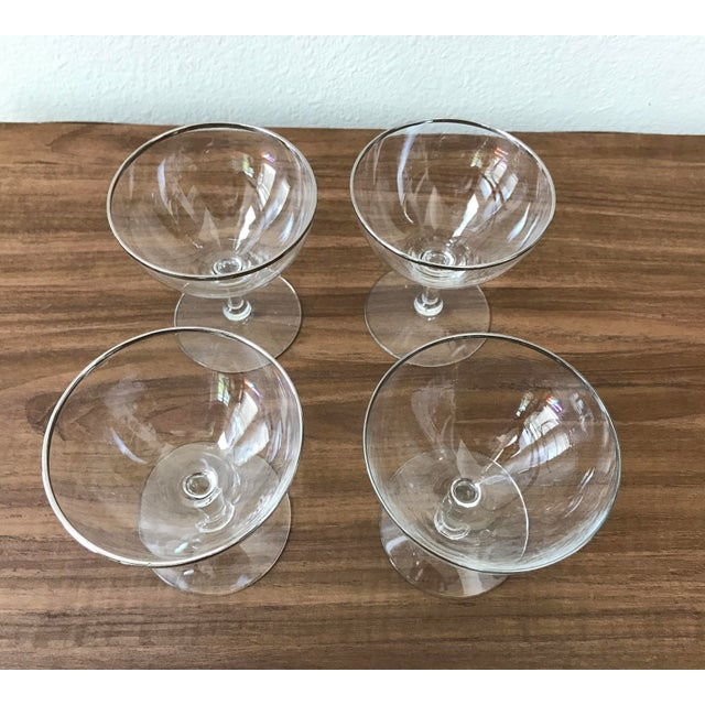 Mid-Century Silver Rimmed Champagne Glasses - Set of 4 - Image 5 of 5