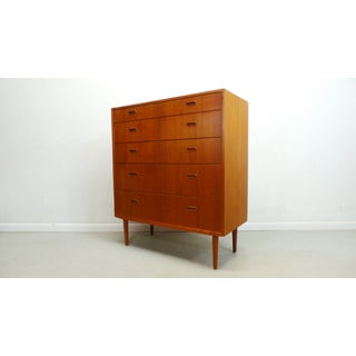1960s Mid Century Danish Modern Teak Chest 5 Drawer Dresser by Falster Preview