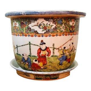 Late 19th Century Porcelain Asian Planter Handpainted Multi Color For Sale