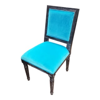 Worlds Away Black Cerused Oak Side Chair For Sale
