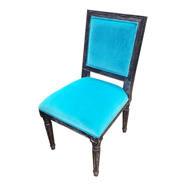Worlds Away Black Cerused Oak Side Chair For Sale