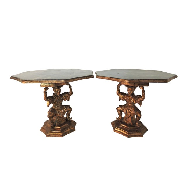 Chinoiserie Antique Figural Italian Gilt Figural 'Chinoiserie' Side / End Tables by Fratelli Paoletti (Early 20th. Century), a Pair For Sale - Image 3 of 11
