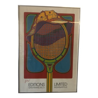 1970s Clayton Pond Tennis Racquet Poster, Framed For Sale