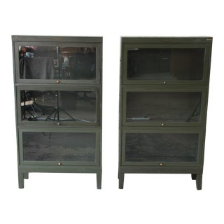 Shaw Walker Antique Metal Barrister Bookcases - A Pair For Sale