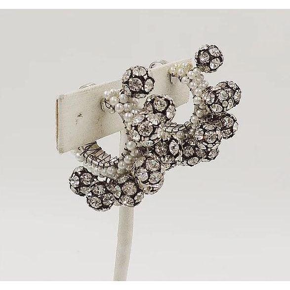 Mid-Century Modern 1960s Rhinestone & Faux-Pearl Earrings For Sale - Image 3 of 12