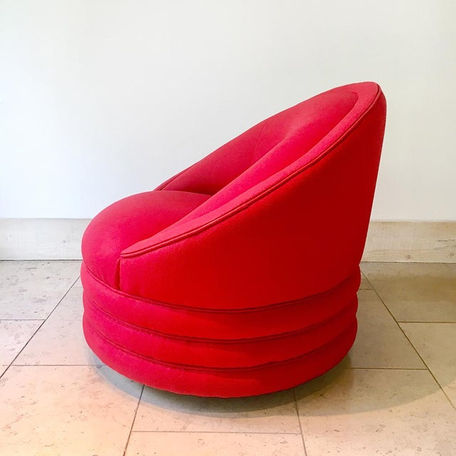 1980s A Single Wool Upholstered Swivel Armchair 1980s For Sale - Image 5 of 6