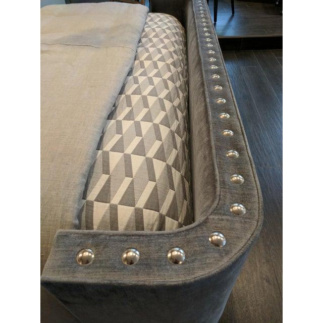 Queen-Size Grey Velvet Bed Frame For Sale - Image 5 of 7