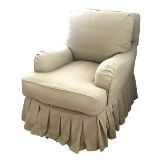 English Traditional Linen Down Filled Khaki Fabric Arm Chair