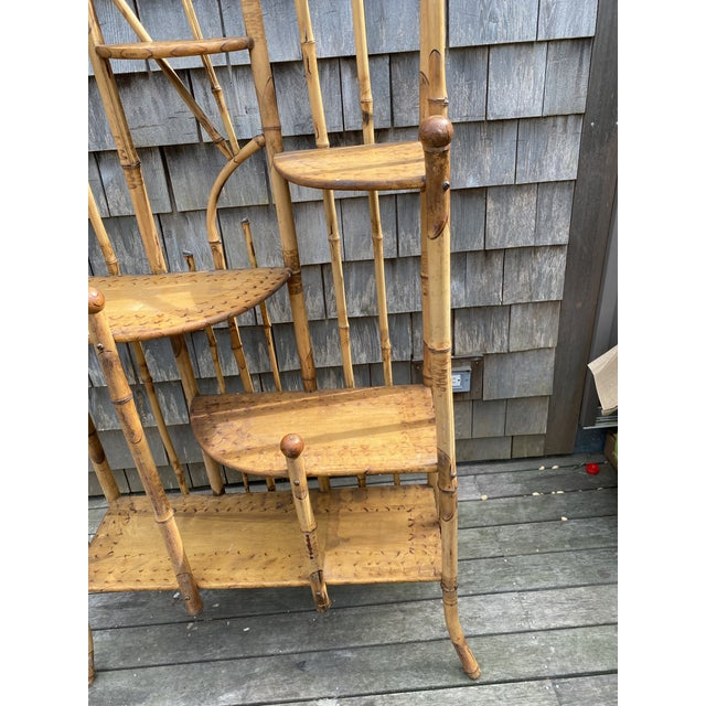 Vintage Asian Bamboo Etagere For Sale In Nantucket - Image 6 of 9