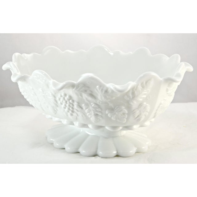 Large 11 inch oval Westmorland footed white grape harvest centerpiece or serving bowl. Marked underside and label...
