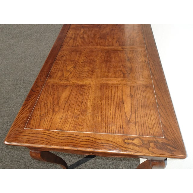 Wood Vintage French Country Henredon Oak Writing Desk W Three Drawers For Sale - Image 7 of 13