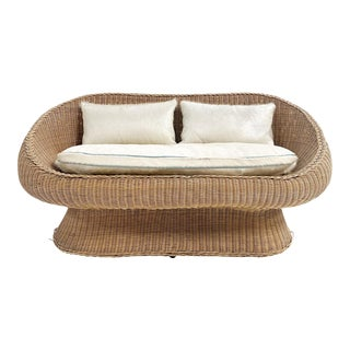 Rattan Loveseat With Custom Brazilian Cowhide and Leather Cushions For Sale