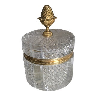 French Cristal Et Bronze Lidded Jar For Sale