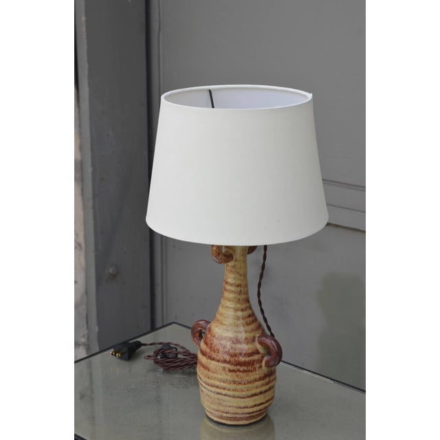 Contemporary 1960s French Accolay Pottery Gourd Shaped Glazed Ceramic Lamp For Sale - Image 3 of 5