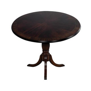 1950s American Classical Flame Mahogany Duncan Phyfe Style Round Table For Sale