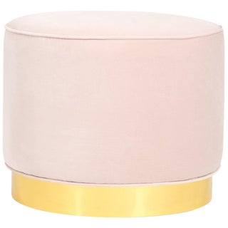 Chubby Ottoman in Blush Pink Velvet For Sale