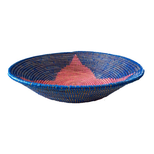 Superb colorful Basket from Senegal West Africa, handwoven by an association of more than 100 rural Wolof women in Senegal...