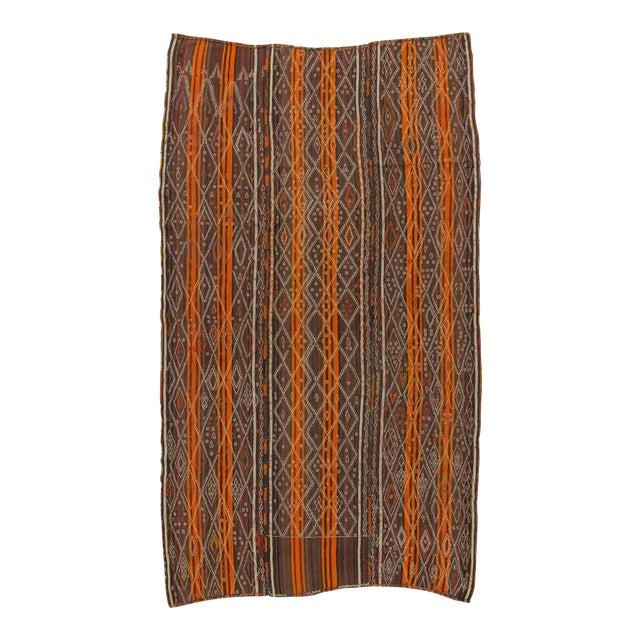 Vintage Orange Striped Turkish Kilim Rug - 6′7″ × 11′6″ For Sale