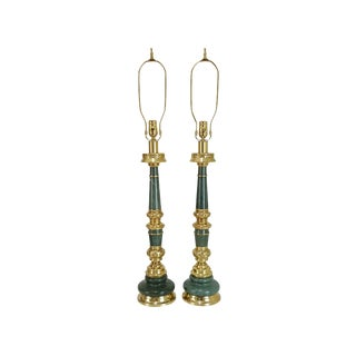 Pair Mid-Century Asian Brass & Green Granite Lamps For Sale