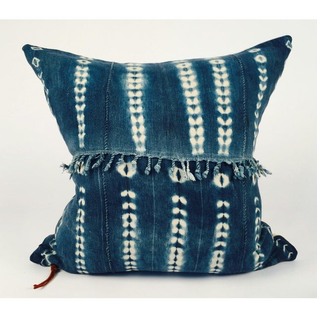 Fringed Vintage Indigo Mudcloth Pillow - Image 2 of 5