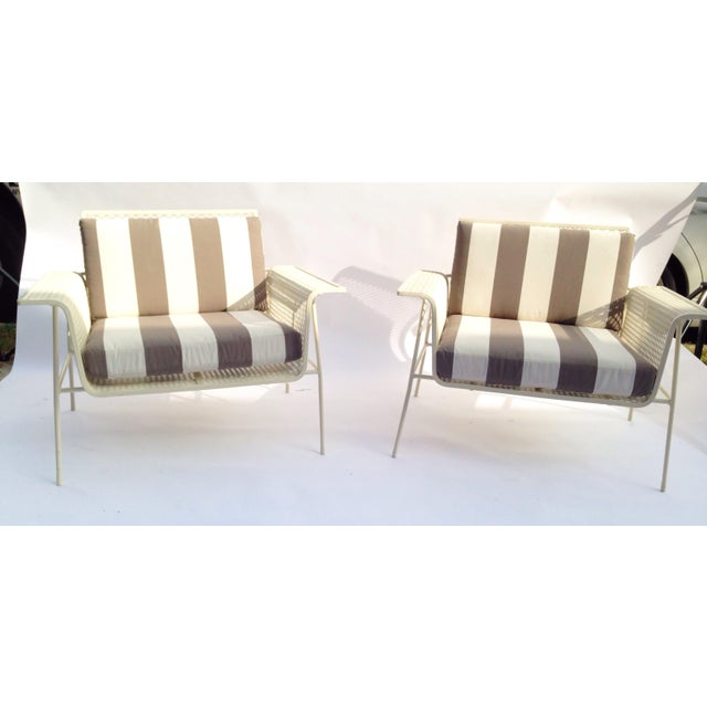 White Metal Outdoor Armchairs - Pair - Image 3 of 5