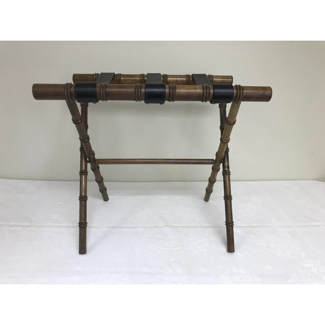 Vintage faux bamboo English traditional / regency folding luggage rack stand. Little wear.