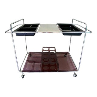 Mid-Century Modern Chrome Bar Cart For Sale