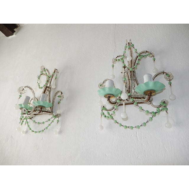 Green French Rare Sea Foam Green Opaline Sconces, circa 1920 For Sale - Image 8 of 12
