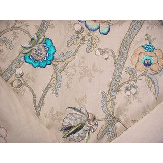 Gp & J Baker Carisbrooke Embroidered Linen Upholstery Fabric- 5 5/8 Yards For Sale