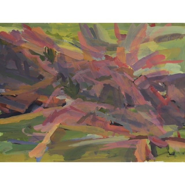 This mid to late 20th century acrylic on paper abstract with pink and green is by Santa Fe artist Seymour Tubis...