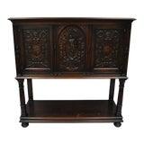 Image of Antique Renaissance Revival Figural Carved Walnut Cabinet For Sale